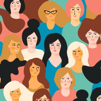 International Womens Day. Vector seamless pattern with women faces. Design element.