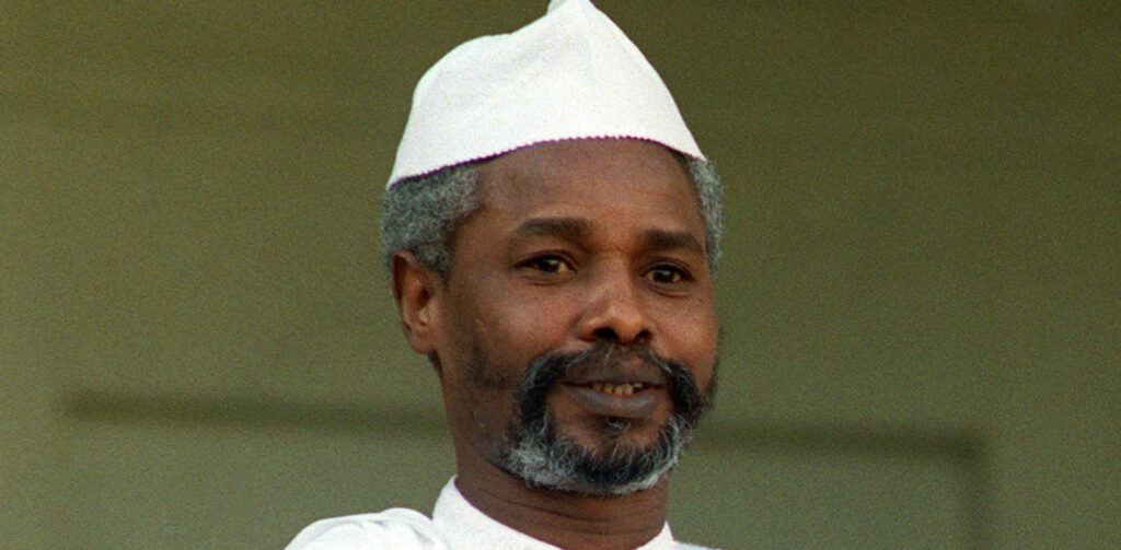 (FILES) A file photo taken on October 21, 1989 shows then-Chadian President Hissene Habre on an official visit in Paris. Ten years after Chadian dictator Hissene Habre was indicted in Senegal for mass murder and torture, his case has yet to come to trial - dashing hopes that Africa is able, and willing, to try its own.  AFP PHOTO / PATRICK HERTZOG (Photo credit should read PATRICK HERTZOG/AFP/Getty Images)
